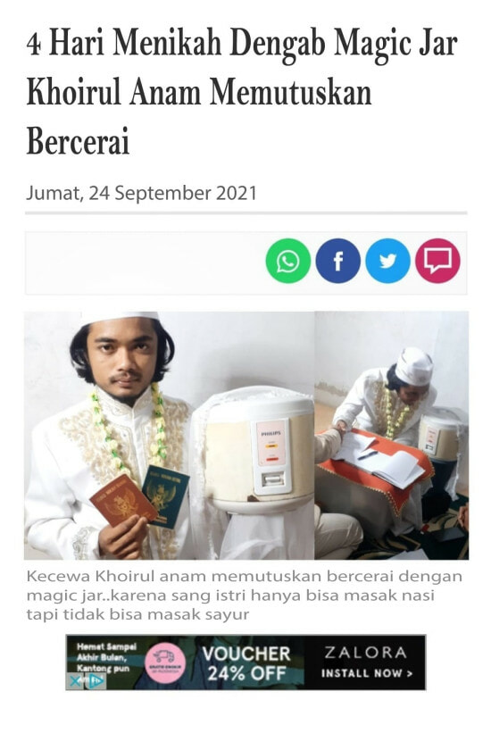 Indonesian Man Married A Rice Cooker And Got A Divorce 4 Days Later 4